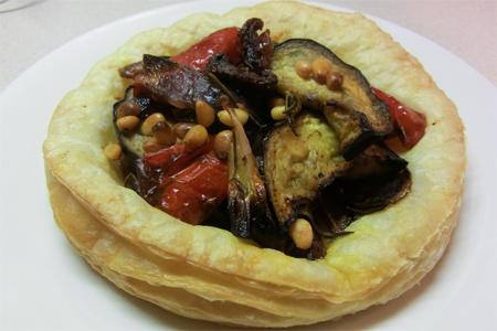 Roast aubergine and red onion tarts