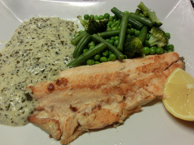 Pan Fried Trout with Watercress Sauce