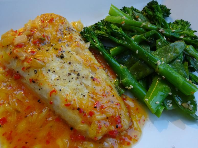 Hake in Chilli Lime Sauce with Stir Fried Greens