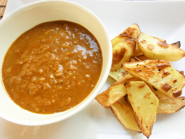 Chip Shop Style Curry Sauce and Crispy Wedges