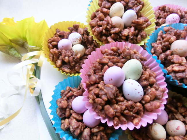 Chocolate Coconut Crispie Nests
