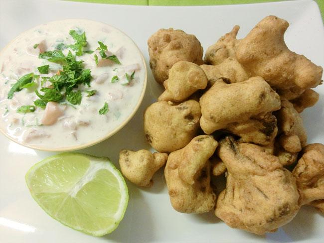 Cauliflower Pakora with Tomato Raita
