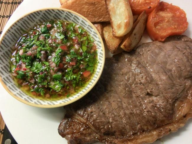 Steak with Chimichurri Sauce and Seasoned Wedges