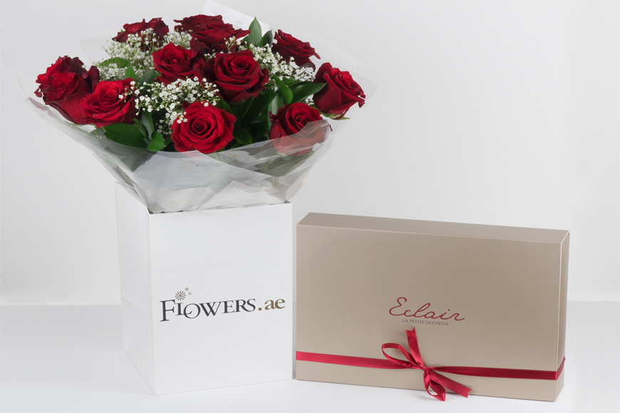 Win a Beautiful Bundle of 12 Eclairs and 12 Roses this Valentine's in Dubai