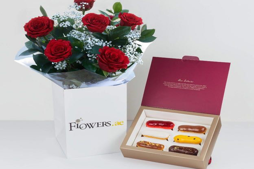 Valentine's Day Offer in Dubai: Luxury Combo of Roses & Eclairs