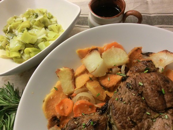 Baked Lamb Steaks with Root Vegetables