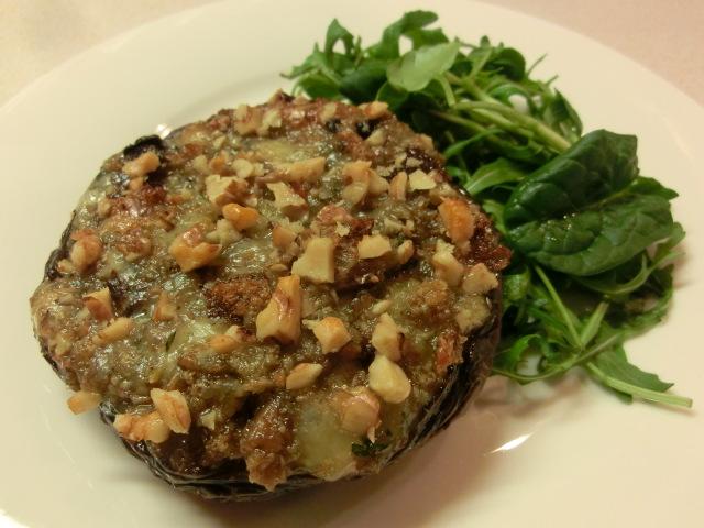 Blue Cheese, Walnut Stuffed Mushrooms