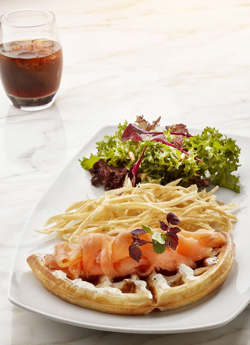 Chicken and Smoked Salmon Waffle