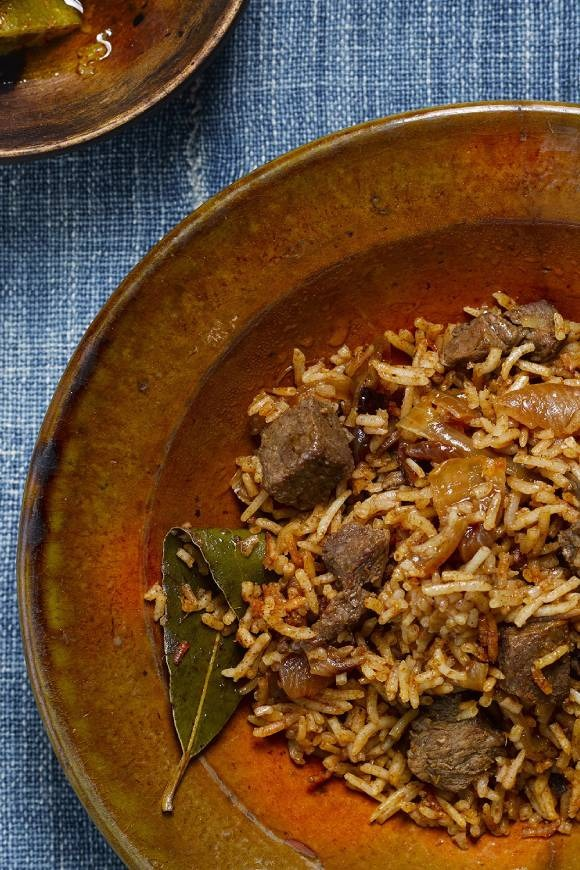 spicy beef and rice biryani