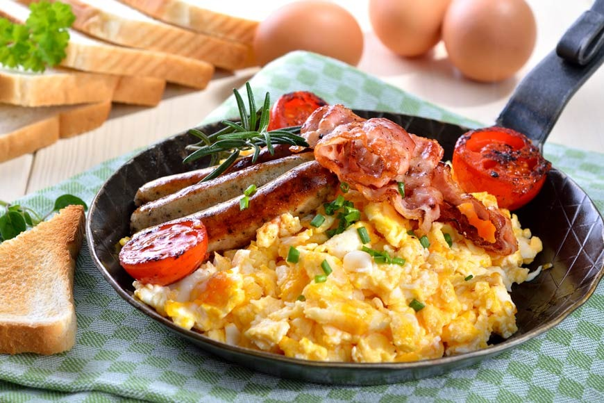 Creamy Scrambled Eggs with Sausages