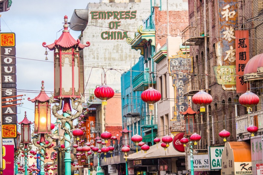 Lanterns and signs in San Francisco's Chinatown