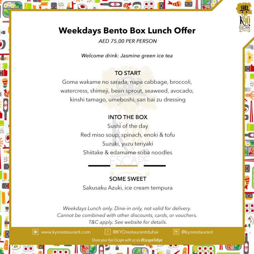 Weekdays Bento box lunch offer