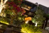 Kyo's Japanese Flavours surrounded by Lush Greenery, Bonsai Trees, and Japanese Sculptures and Murals.