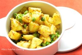 Vegan peas and potatoes with sesame seeds