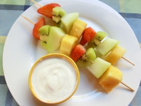 Fruit Kebabs with Honeyed Yoghurt Dip