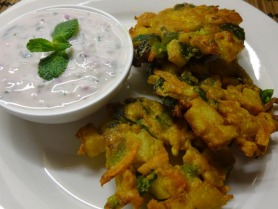 Vegetable Pakoda with Mint Yoghurt Dip