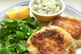 Cod and Prawn Fishcakes with Tartare Sauce