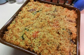 Roasted Mediterranean vegetable pasta bake