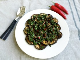 Roasted Aubergine with Chili and Herbs