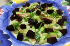 Smoked mackerel and potato salad with beetroot