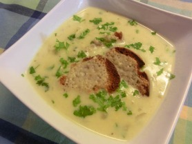 Onion and Potato Soup with Gruyere Croutons