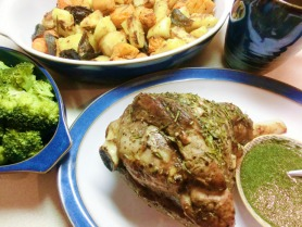 Roast Lamb with Roasted Vegetables and Mint Sauce