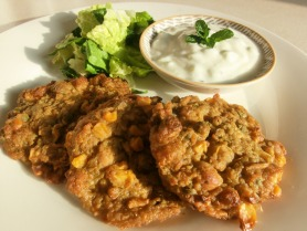 Chickpea, Sweet Potato and Sweetcorn Patties