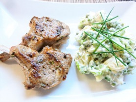Thyme and Lemon Lamb with Pea and Potato Salad