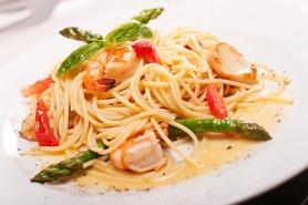 Asparagus and shrimp pasta