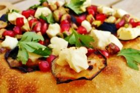 Eggplant, Feta, and Pomegranate Pizza
