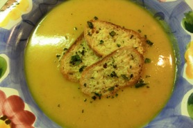 Butternut squash soup with chilli and sage