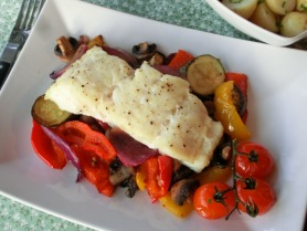 Baked Cod with Roasted Vegetables