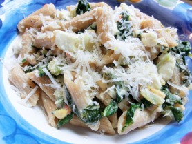 Whole Wheat Penne Pasta with Feta and Wilted Chard