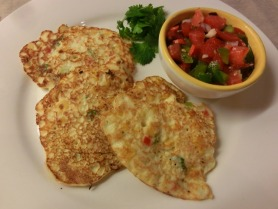 Sweetcorn fritters with tomato and pepper salsa