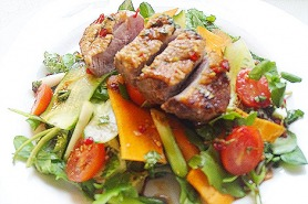 Duck Salad with Honey, Soy and Chilli Dressing