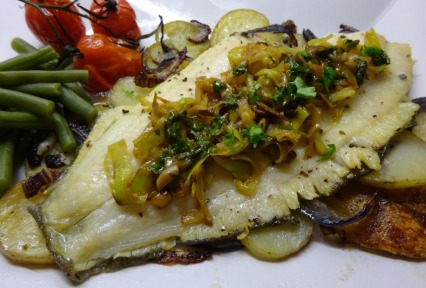 Baked Plaice with Lemon, Leek and Vine Tomatoes