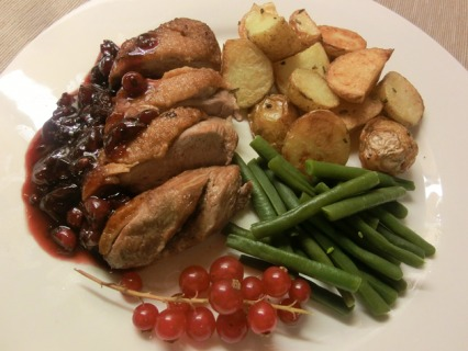Roast Duck w Redcurrant Sauce & Rosemary Potatoes