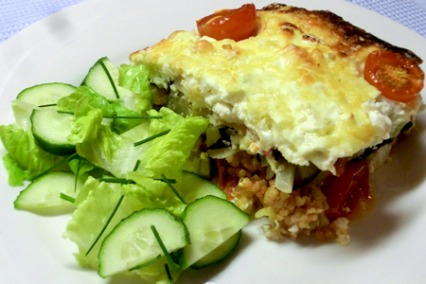 Courgette, red pepper and three cheese bake