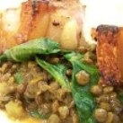 Pork chops with spiced lentils