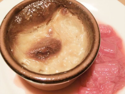 Baked Vanilla Rice Pudding with Early Rhubarb