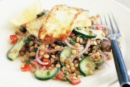 Halloumi, Lentil and Rocket Salad