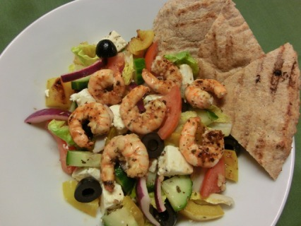 Greek Salad with Grilled Prawns