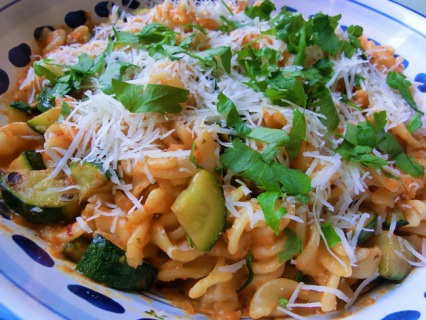 Red Pepper and Courgette Pasta