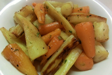 Roasted salsify, parsnips and chantenay carrots