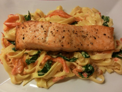 Roasted Salmon with Creamy Red Pepper Tagliatelle