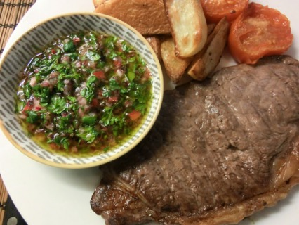 Steak with Chimichurri Sauce and Seasoned Wedges