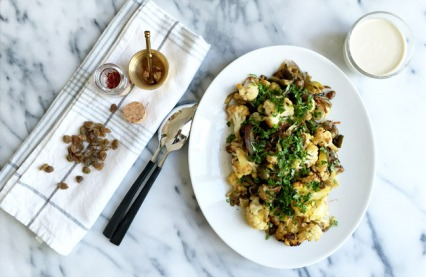 Saffron Roasted Cauliflower with Olives and Sultan