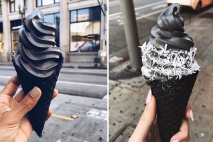 Black charcoal ice cream