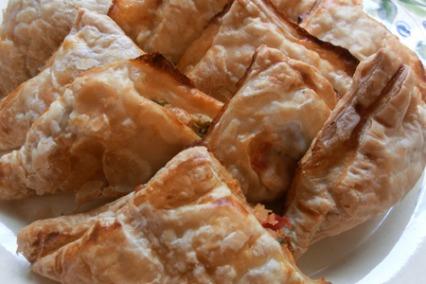 Feta and mozzarella triangles