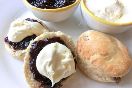 Sultana scones with jam and clotted cream